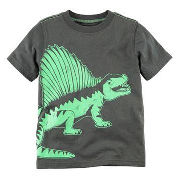 Toddler Boy Carter's Short Sleeve Gray & Green Dinosaur Graphic Tee
