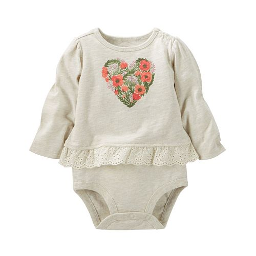 Baby Girl OshKosh B'gosh® Graphic Eyelet Mocklayer Bodysuit