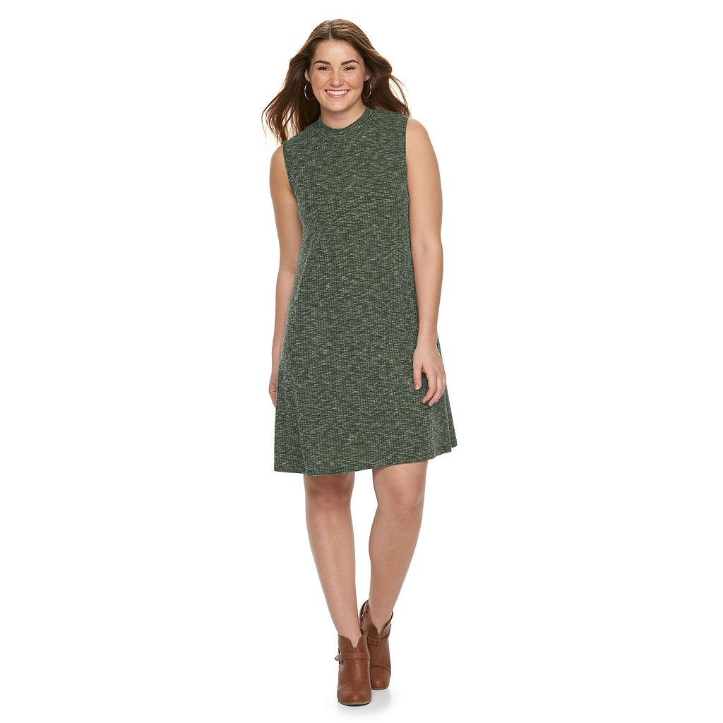 Juniors' Plus Size Almost Famous Ribbed Mockneck Swing Dress
