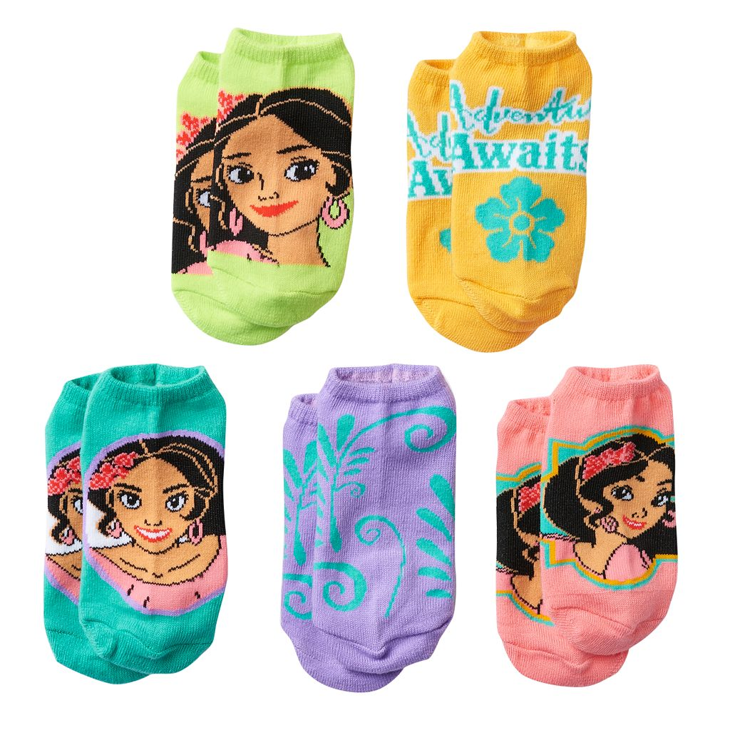 Disney's Elena of Avalor Girls 4-16 5-pk. No-Show Socks