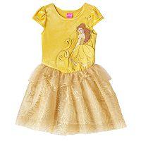 Disney Princess Belle Girls 4-6x Glitter Rose Tulle Dress