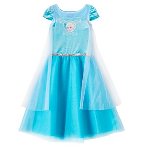 Disney's Frozen Elsa Girls 4-6x Velour Tulle Cape Dress