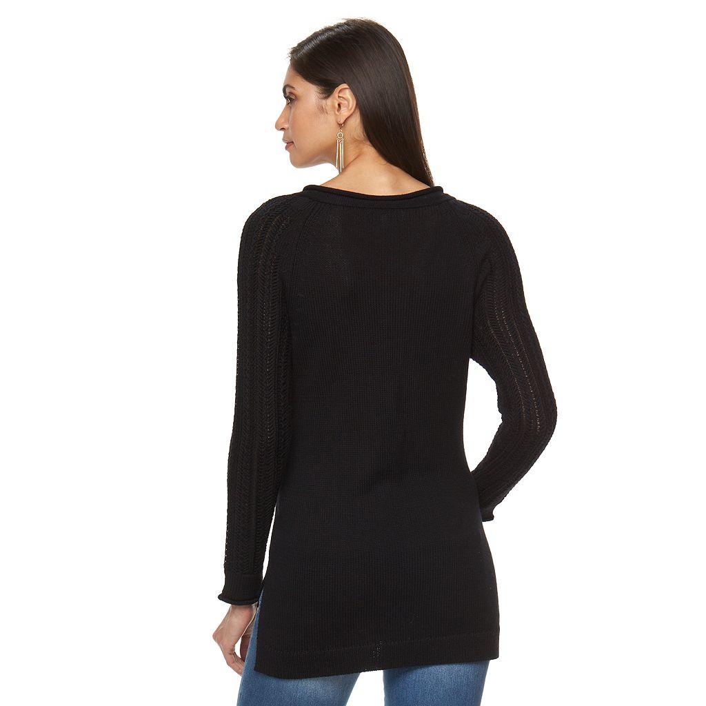Women's Jennifer Lopez Textured Lace-Up Sweater