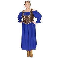 Adult Plus Renaissance Purple Peasant Dress Costume