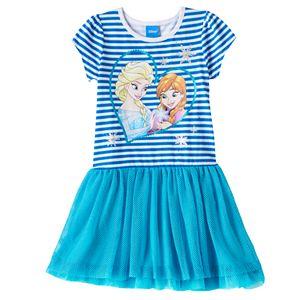 Disney's Frozen Anna & Elsa Girls 4-6x Glitter Striped Drop-Waist Dress