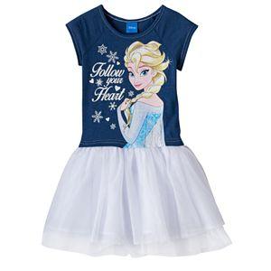 Disney's Frozen Elsa Girls 4-6x Glitter Chambray Tulle Tutu Dress
