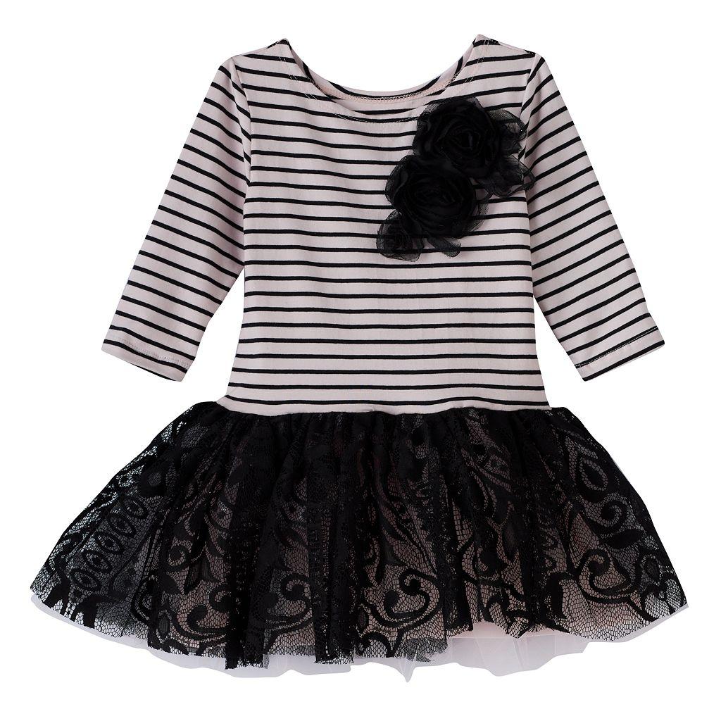 Girls 4-6x Marmellata Classics Striped Rosette Lace Tutu Dress