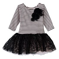 Girls 4-6x Marmellata Classics Striped Rosette Lace Tutu Dress