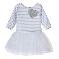 Girls 4-6x Marmellata Classics Glitter Heart Striped Tutu Dress