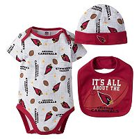 Baby Arizona Cardinals 3-Piece Bodysuit, Bib & Cap Set