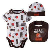 Baby Cleveland Browns 3-Piece Bodysuit, Bib & Cap Set