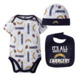 Baby San DiegoChargers 3-Piece Bodysuit, Bib & Cap Set