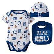 Baby Indianapolis Colts 3 pc Bodysuit, Bib & Cap Set