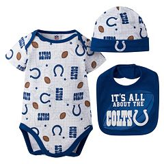 Baby Indianapolis Colts 3-Piece Bodysuit, Bib & Cap Set