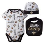 Baby New Orleans Saints 3-Piece Bodysuit, Bib & Cap Set