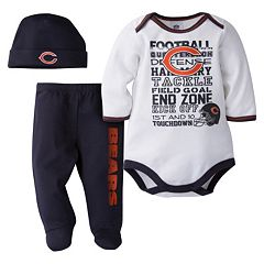 Baby Chicago Bears 3 pc Bodysuit, Pants & Cap Set