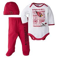 Baby Arizona Cardinals 3 pc Bodysuit, Pants & Cap Set