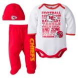 Baby Kansas City Chiefs 3 pc Bodysuit, Pants & Cap Set