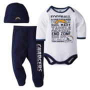 Baby San DiegoChargers 3-Piece Bodysuit, Pants & Cap Set