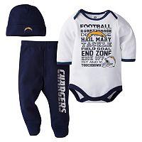 Baby San DiegoChargers 3 pc Bodysuit, Pants & Cap Set