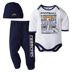 Baby San Diego Chargers 3 pc Bodysuit, Pants & Cap Set