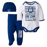 Baby Indianapolis Colts 3 pc Bodysuit, Pants & Cap Set