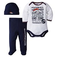 Baby Denver Broncos 3 pc Bodysuit, Pants & Cap Set