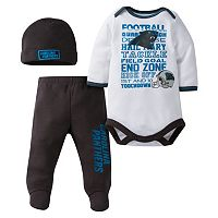 Baby Carolina Panthers 3 pc Bodysuit, Pants & Cap Set