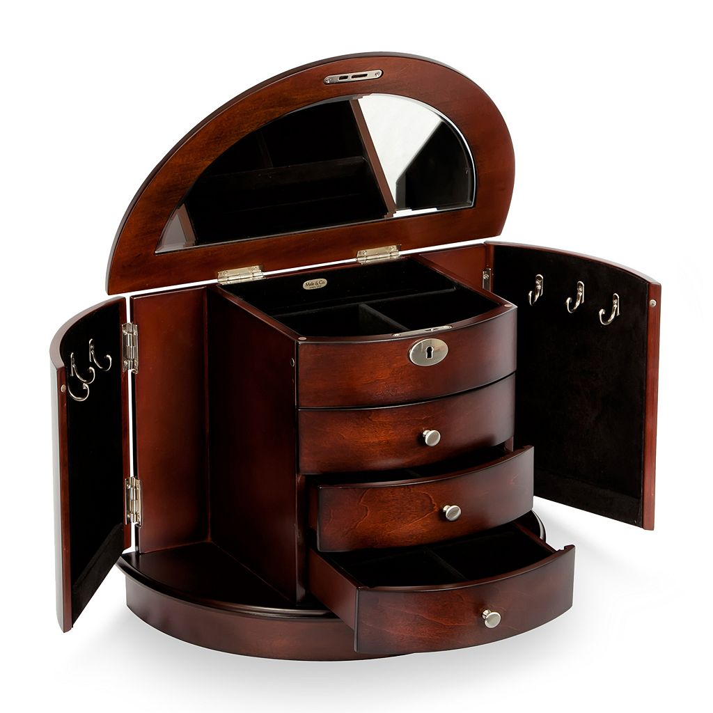 Mele & Co. York Locking Wooden Jewelry Box