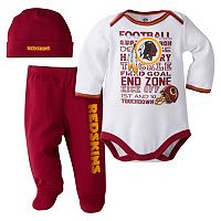 Baby Washington Redskins 3 pc Bodysuit, Pants & Cap Set
