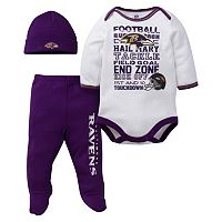 Baby Baltimore Ravens 3-Piece Bodysuit, Pants & Cap Set