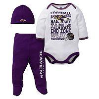 Baby Baltimore Ravens 3 pc Bodysuit, Pants & Cap Set