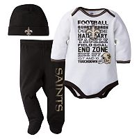Baby New Orleans Saints 3 pc Bodysuit, Pants & Cap Set