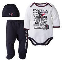 Baby Houston Texans 3-Piece Bodysuit, Pants & Cap Set