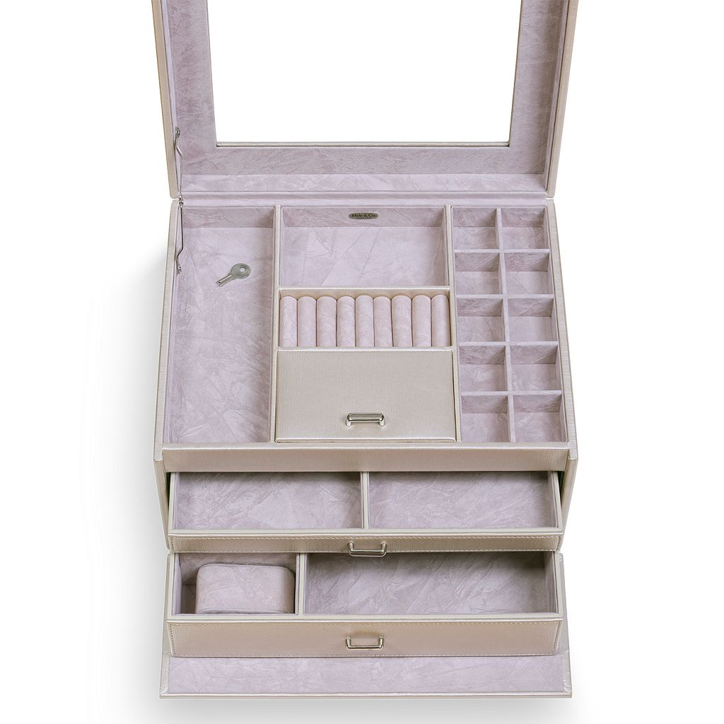 Mele & Co. Linden Locking Glass Top Jewelry Box