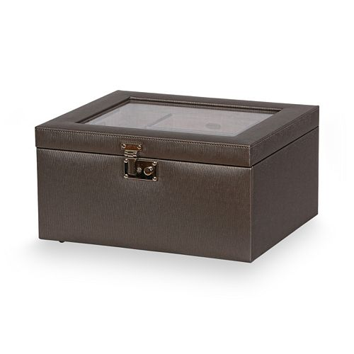 Mele & Co. Linden Locking Glass Top Jewelry Box