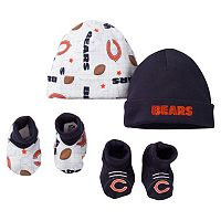 Baby Chicago Bears 4-Piece Cap & Crib Shoes Set