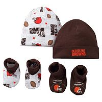 Baby Cleveland Browns 4-Piece Cap & Crib Shoes Set