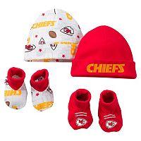 Baby Kansas City Chiefs 4-Piece Cap & Crib Shoes Set