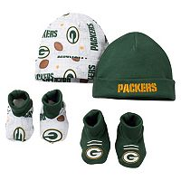 Baby Green Bay Packers 4-Piece Cap & Crib Shoes Set