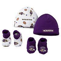 Baby Baltimore Ravens 4-Piece Cap & Crib Shoes Set