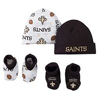 Baby New Orleans Saints 4-Piece Cap & Crib Shoes Set