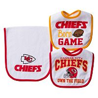 Baby Kansas City Chiefs 3-Piece Bib & Burp Cloth Set