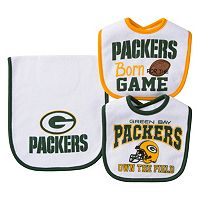Baby Green Bay Packers 3-Piece Bib & Burp Cloth Set