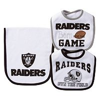 Baby Oakland Raiders 3-Piece Bib & Burp Cloth Set