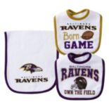Baby Baltimore Ravens 3-Piece Bib & Burp Cloth Set