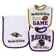 Baby Baltimore Ravens 3 pc Bib & Burp Cloth Set