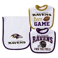 Baby Baltimore Ravens 3 pc Bib & Burp Cloth Set