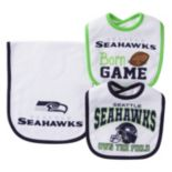 Baby Seattle Seahawks 3-Piece Bib & Burp Cloth Set