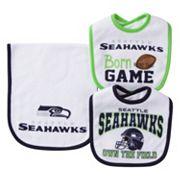 Baby Seattle Seahawks 3 pc Bib & Burp Cloth Set